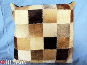 PL222 Cowhide Leather Hair-On PatchWork Cushion Pillow Cover