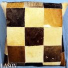 PL220 Cowhide Leather Hair-On PatchWork Cushion Pillow Cover