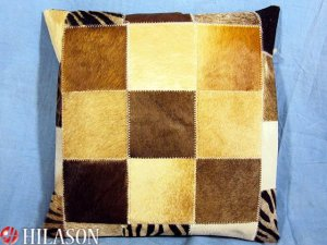 PL214 Cowhide Leather Hair-On PatchWork Cushion Pillow Cover