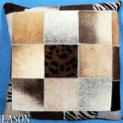 PL213 Cowhide Leather Hair-On PatchWork Cushion Pillow Cover
