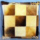 PL211 Cowhide Leather Hair-On PatchWork Cushion Pillow Cover