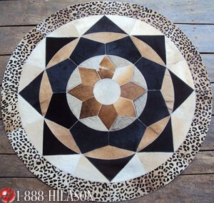 643 COWHIDE HAIR-ON LEATHER PATCHWORK RUG 48IN DIA