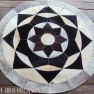 650 COWHIDE HAIR-ON LEATHER PATCHWORK RUG 48IN DIA