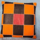 PL331 Smooth Leather PatchWork Cushion Pillow Cover
