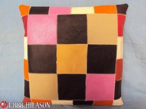 PL344 Smooth Leather PatchWork Cushion Pillow Cover