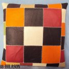 PL346 Smooth Leather PatchWork Cushion Pillow Cover