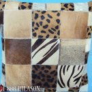PL401 Cowhide Leather Hair-On PatchWork Cushion Pillow Cover