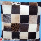 PL402 Cowhide Leather Hair-On PatchWork Cushion Pillow Cover