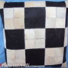 PL421 Cowhide Leather Hair-On PatchWork Cushion Pillow Cover