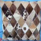 PL423 Cowhide Leather Hair-On PatchWork Cushion Pillow Cover