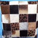 PL434 Cowhide Leather Hair-On PatchWork Cushion Pillow Cover