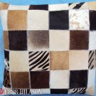 PL448 Cowhide Leather Hair-On PatchWork Cushion Pillow Cover