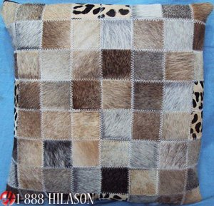 PL455 Cowhide Leather Hair-On PatchWork Cushion Pillow Cover