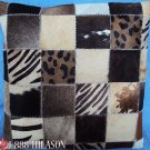 PL388 Cowhide Leather Hair-On PatchWork Cushion Pillow Cover