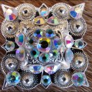 CN044F- 4 AB CRYSTALS SQUARE CONCHOS RHINESTONE HEADSTALL TACK BLING COWGIRL