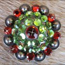 CN025F- 4 GREEN SIAM RHINESTONE  CRYSTAL CONCHOS BLING HEADSTALL TACK COWGIRL