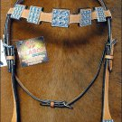NEW HILASON LEATHER HORSE BRIDLE HEADSTALL WESTERN TACK W/ BLUE CRYSTAL CONCHOS