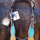 HILASON WESTERN HAND TOOL HAND PAINTED INLAY LEATHER HORSE BRIDLE HEADSTALL S82