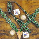 WESTERN ZEBRA HAIR ON LEATHER ONE EAR HORSE HEADSTALL BREAST COLLAR CRYSTALS S00