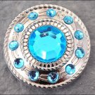 CN076F- 32 BLUE CRYSTAL RHINESTONE WHEEL CONCHOS BLING HEADSTALL TACK COWGIRL