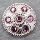 CN082F- 8 PURPLE CRYSTAL RHINESTONE WHEEL CONCHOS BLING HEADSTALL TACK COWGIRL