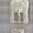 CN053F- SET OF TWO PIECE SILVER BUCKLE SET - 1.5 INCH