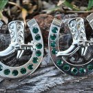CN008F- 8 EMERALD HORSESHOE BOOTS RHINESTONE CONCHOS CRYSTALS HEADSTALL TACK