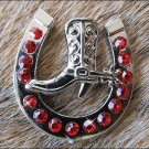 CN010F- 16 RED HORSESHOE BOOTS RHINESTONE CONCHOS CRYSTALS HEADSTALL TACK