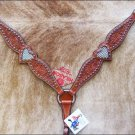 DARK OIL HILASON LEATHER WESTERN BLING RHINESTONE INLAY HORSE BREAST COLLAR