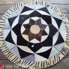 F-HR646 COWHIDE HAIR-ON LEATHER PATCHWORK RUG 48IN DIA