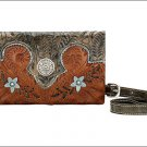 AMERICAN WEST LEATHER GRAB AND GO LADIES FOLDED CLUTCH PURSE WALLET W/ CONCHO