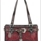 AMERICAN WEST LEATHER RIVERBEND LADIES TOTE SHOULDER BAG PURSE 3 COMPARTMENT