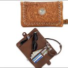 AMERICAN WEST LEATHER GRAB AND GO LADIES FOLDED CLUTCH WALLET PURSE - CARAMEL