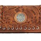 AMERICAN WEST LEATHER HARVEST MOON LADIES TRI-FOLD WALLET PURSE W/ CONCHO