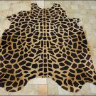 F-HS634 GIRAFFE STENCIL FULL PURE BRAZILIAN HAIR ON COWHIDE LEATHER RUG 47 SQFT