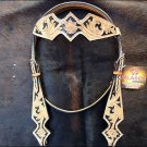 HILASON WESTERN HAND TOOL LEATHER HORSE BRIDLE HEADSTALL TAN w/ BLACK INLAY S477