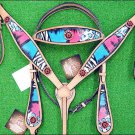 HILASON WESTERN HAND PAINT LEATHER HORSE BRIDLE HEADSTALL BREAST COLLAR CONCHO