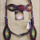 HILASON WESTERN LEATHER HAND TOOL PAINT INLAY BRIDLE HEADSTALL - MAHOGANY S334