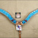 HILASON WESTERN LEATHER HORSE BREAST COLLAR TURQUOISE HAND PAINT w/ CONCHOS S033