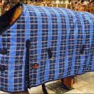 HILASON 1200D HEAVY WINTER WATERPROOF BLUE STABLE BLANKET RUG HORSE WEAR COAT 84