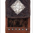 AMERICAN WEST LEATHER TRIPLE C CASE MADE TO FIT MP3 PLAYERS, DIGITAL CAMERAS, PD