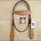 NEW HILASON WESTERN HAND TOOL LEATHER HORSE BRIDLE HEADSTALL TAN RHINESTONES S57
