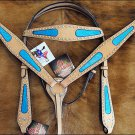 HORSE OSTRICH LEATHER BRIDLE HEADSTALL BREAST COLLAR WESTERN TURQUOISE 104TRQS