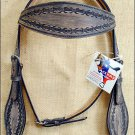 HILASON WESTERN HAND TOOL LEATHER HORSE BRIDLE HEADSTALL - BROWN RUSTIC VINTAGE