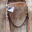 NEW HILASON WESTERN LEATHER TACK HAND TOOLED BRIDLE HEADSTALL RHINESTONE - TAN