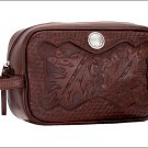 AMERICAN WEST MAHOGANY OAK LEAF HAND TOOL LEATHER DOP / SHAVING KIT BAG