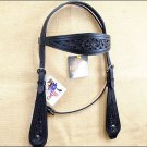 NEW HILASON WESTERN HAND TOOLED LEATHER HORSE BRIDLE HEADSTALL - BLACK S322BK