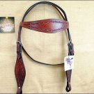 HILASON WESTERN HAND TOOLED LEATHER HORSE TACK BRIDLE HEADSTALL - MAHOGANY S321M