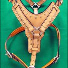 F-DH200 Genuine Leather Tan Dog Harness With Leash - LRG