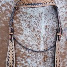 HILASON WESTERN HAND TOOLED HAND PAINTED INLAY LEATHER HORSE HEADSTALL SHS420